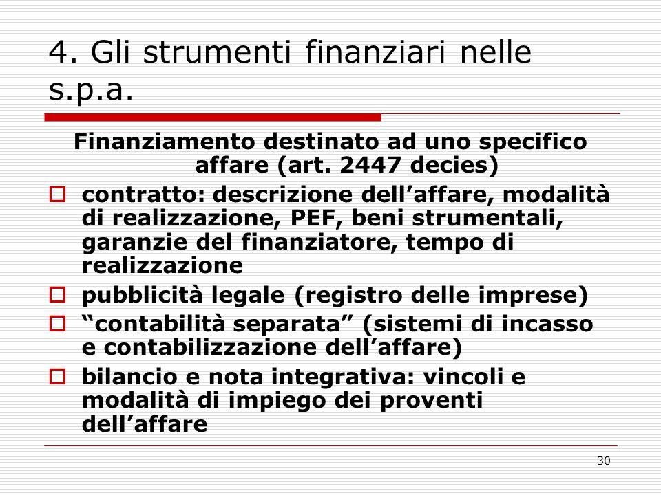 30 4. Gli strumenti finanziari nelle s.p.a. Finanziamento destinato ad uno specifico affare (art. 2447 decies)  contratto: descrizione dell'affare, m