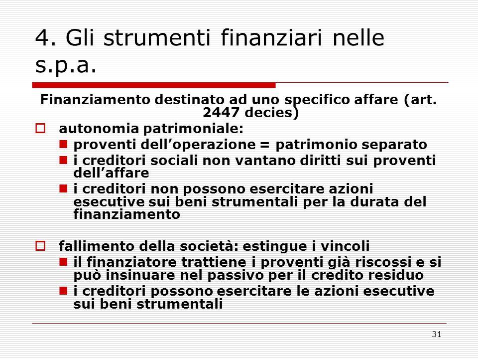 31 4. Gli strumenti finanziari nelle s.p.a. Finanziamento destinato ad uno specifico affare (art. 2447 decies)  autonomia patrimoniale: proventi dell