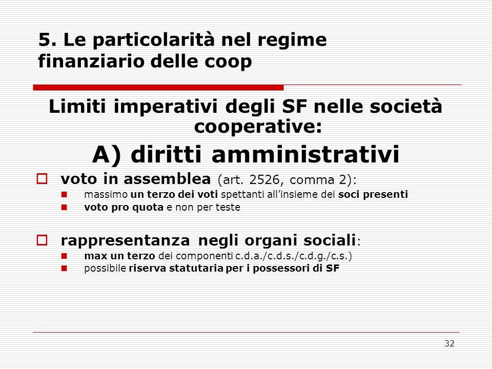 32 5. Le particolarità nel regime finanziario delle coop Limiti imperativi degli SF nelle società cooperative: A) diritti amministrativi  voto in ass