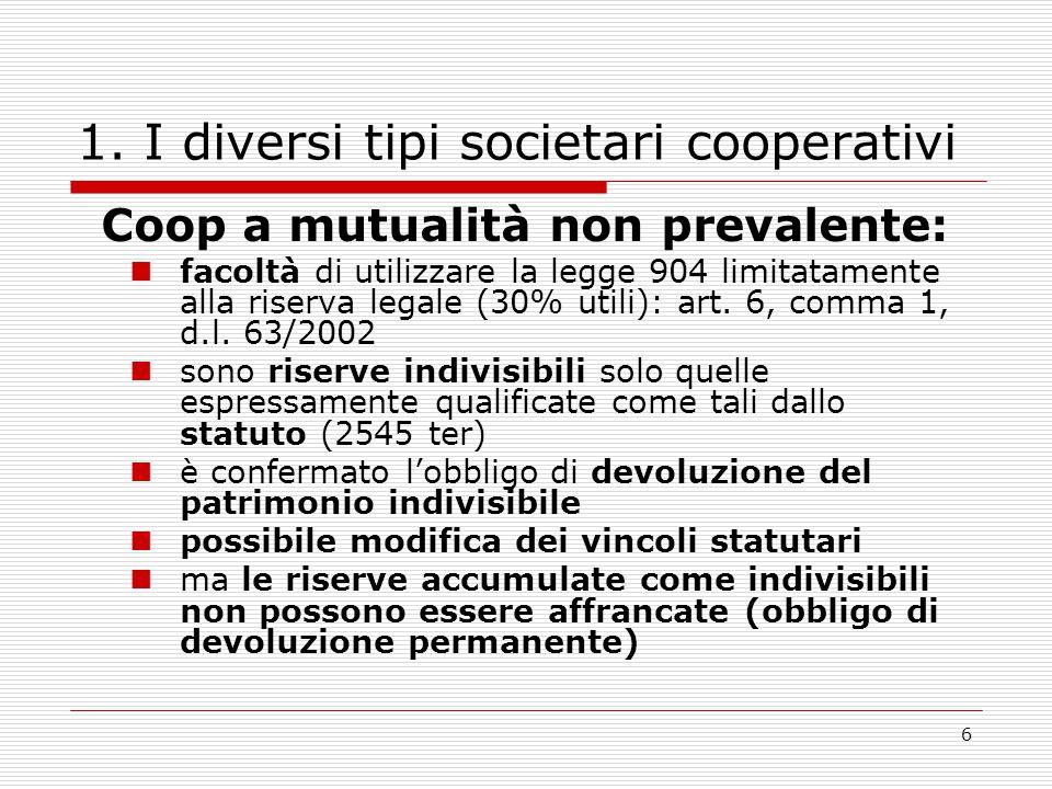 6 1. I diversi tipi societari cooperativi Coop a mutualità non prevalente: facoltà di utilizzare la legge 904 limitatamente alla riserva legale (30% u