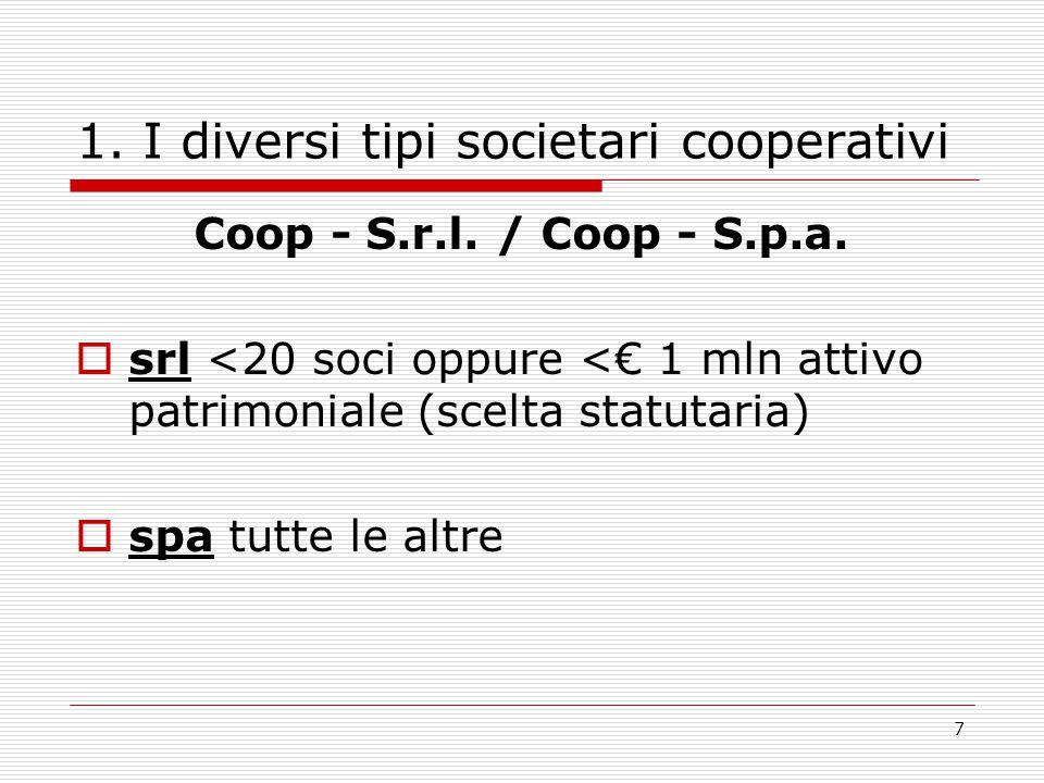 7 1. I diversi tipi societari cooperativi Coop - S.r.l. / Coop - S.p.a.  srl <20 soci oppure <€ 1 mln attivo patrimoniale (scelta statutaria)  spa t