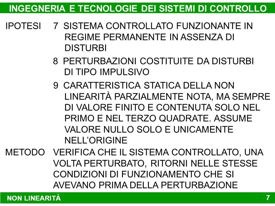 NON LINEARITÀ INGEGNERIA E TECNOLOGIE DEI SISTEMI DI CONTROLLO 7 IPOTESI 8 PERTURBAZIONI COSTITUITE DA DISTURBI DI TIPO IMPULSIVO 7 SISTEMA CONTROLLATO FUNZIONANTE IN REGIME PERMANENTE IN ASSENZA DI DISTURBI 9 CARATTERISTICA STATICA DELLA NON LINEARITÀ PARZIALMENTE NOTA, MA SEMPRE DI VALORE FINITO E CONTENUTA SOLO NEL PRIMO E NEL TERZO QUADRATE.