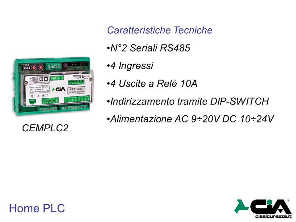 Home PLC CEMPLC2 Caratteristiche Tecniche N°2 Seriali RS485 4 Ingressi 4 Uscite a Relè 10A Indirizzamento tramite DIP-SWITCH Alimentazione AC 9÷20V DC