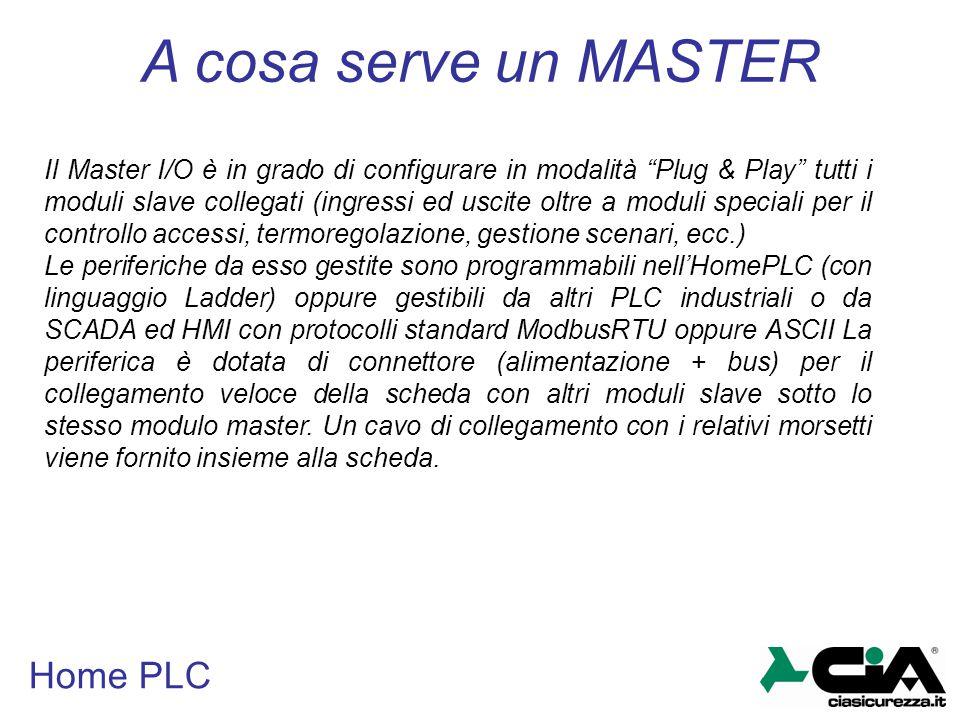 """Home PLC Il Master I/O è in grado di configurare in modalità """"Plug & Play"""" tutti i moduli slave collegati (ingressi ed uscite oltre a moduli speciali"""