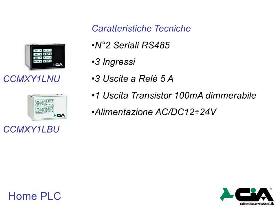 Home PLC CCMXY1LBU CCMXY1LNU Caratteristiche Tecniche N°2 Seriali RS485 3 Ingressi 3 Uscite a Relè 5 A 1 Uscita Transistor 100mA dimmerabile Alimentaz