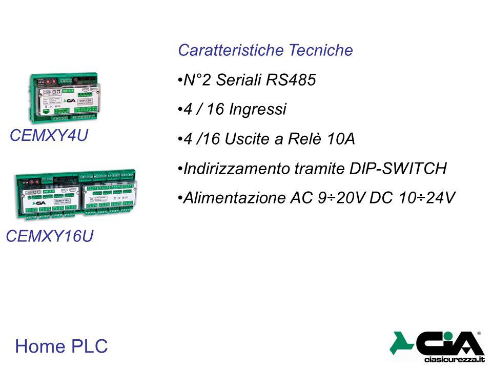 Home PLC CEMXY4U CEMXY16U Caratteristiche Tecniche N°2 Seriali RS485 4 / 16 Ingressi 4 /16 Uscite a Relè 10A Indirizzamento tramite DIP-SWITCH Aliment