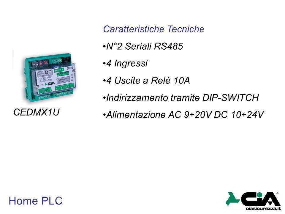 Home PLC Caratteristiche Tecniche N°2 Seriali RS485 4 Ingressi 4 Uscite a Relè 10A Indirizzamento tramite DIP-SWITCH Alimentazione AC 9÷20V DC 10÷24V
