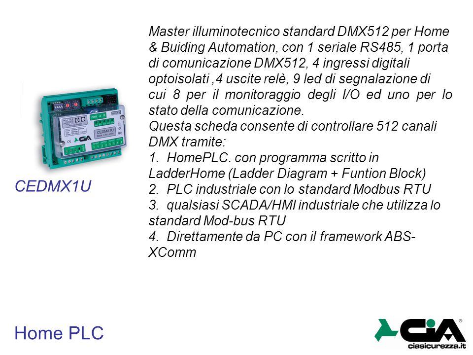 Home PLC Master illuminotecnico standard DMX512 per Home & Buiding Automation, con 1 seriale RS485, 1 porta di comunicazione DMX512, 4 ingressi digita
