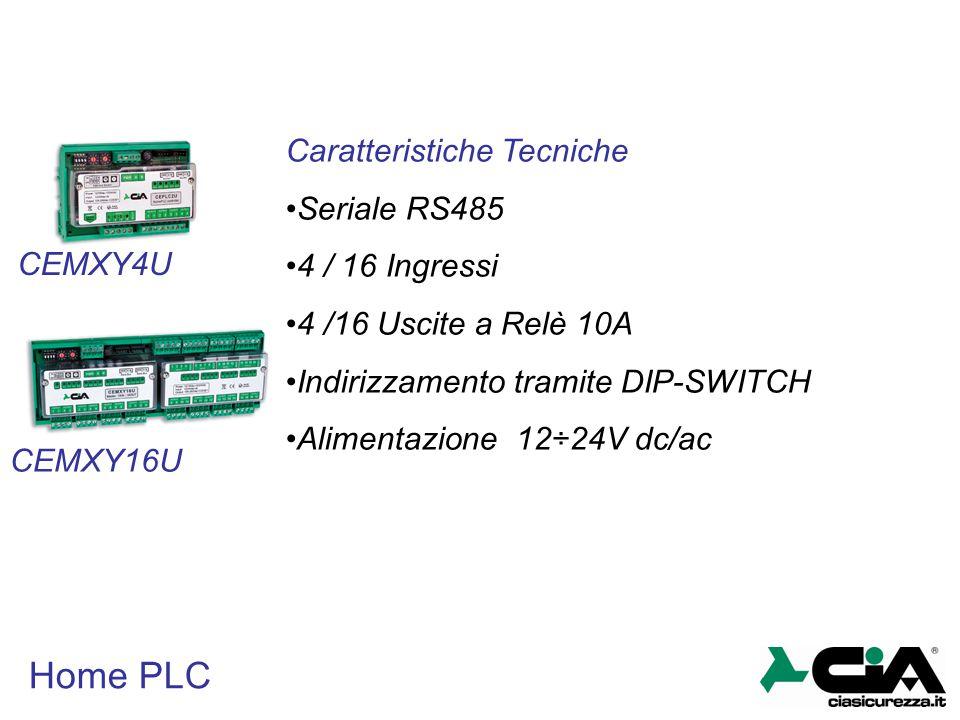 Home PLC CEMXY4U CEMXY16U Caratteristiche Tecniche Seriale RS485 4 / 16 Ingressi 4 /16 Uscite a Relè 10A Indirizzamento tramite DIP-SWITCH Alimentazio