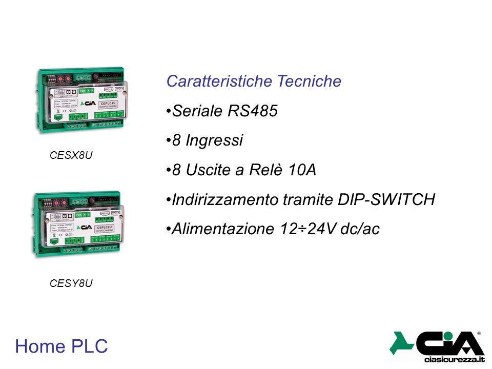 Home PLC CESY8U CESX8U Caratteristiche Tecniche Seriale RS485 8 Ingressi 8 Uscite a Relè 10A Indirizzamento tramite DIP-SWITCH Alimentazione 12÷24V dc