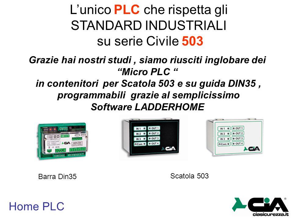 Home PLC LADDERHOME E' un software grafico che ci permette la programmazione del nostro PLC in modo semplicissimo, grazie all'utilizzo di una serie di librerie già incluse all'interno, potremmo così realizzare qualsiasi cosa nel nostro PLC Domotico