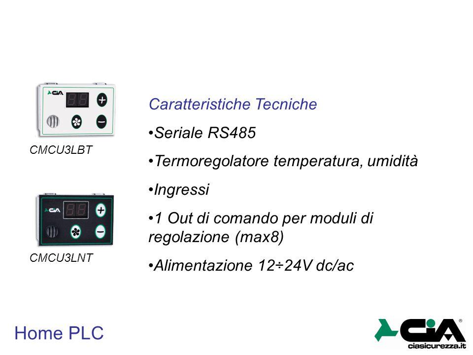 Home PLC CMCU3LBT CMCU3LNT Caratteristiche Tecniche Seriale RS485 Termoregolatore temperatura, umidità Ingressi 1 Out di comando per moduli di regolaz