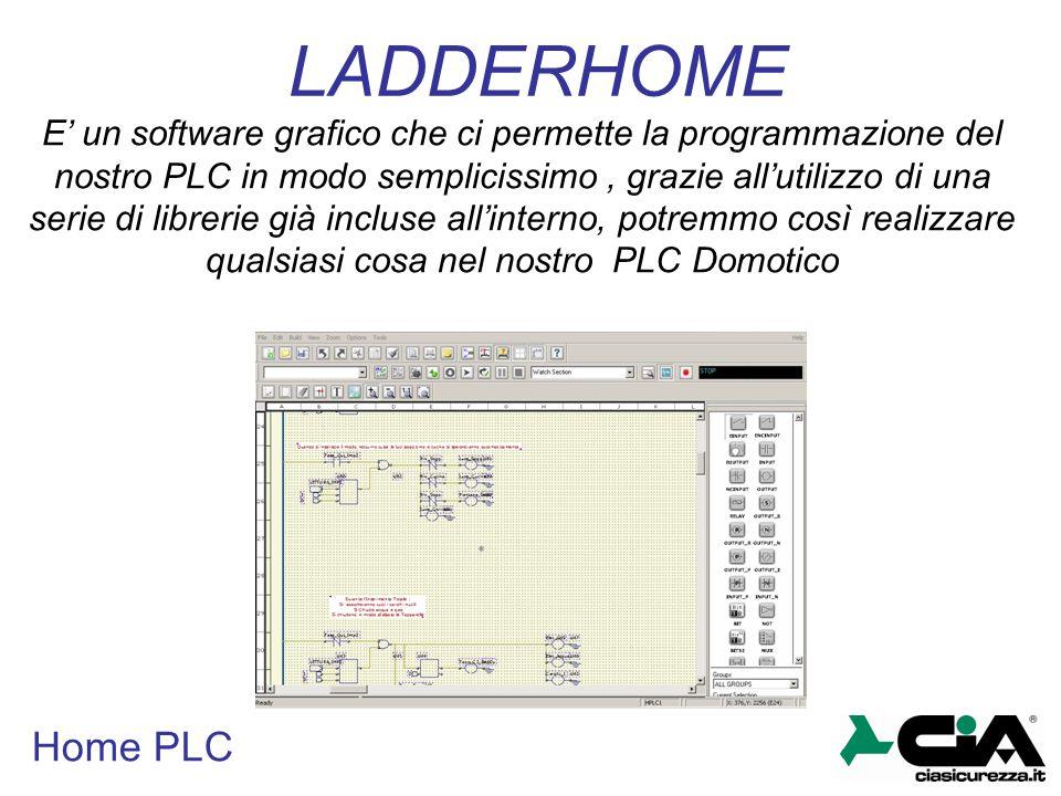 Home PLC LADDERHOME E' un software grafico che ci permette la programmazione del nostro PLC in modo semplicissimo, grazie all'utilizzo di una serie di