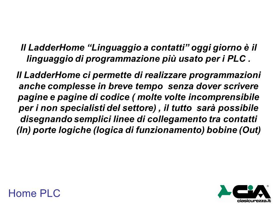 """Home PLC Il LadderHome """"Linguaggio a contatti"""" oggi giorno è il linguaggio di programmazione più usato per i PLC. Il LadderHome ci permette di realizz"""