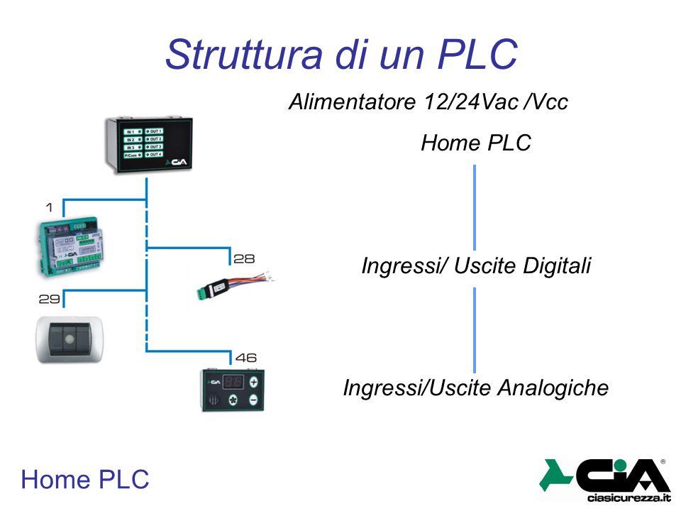 Home PLC Struttura di un PLC Alimentatore 12/24Vac /Vcc Home PLC Ingressi/ Uscite Digitali Ingressi/Uscite Analogiche