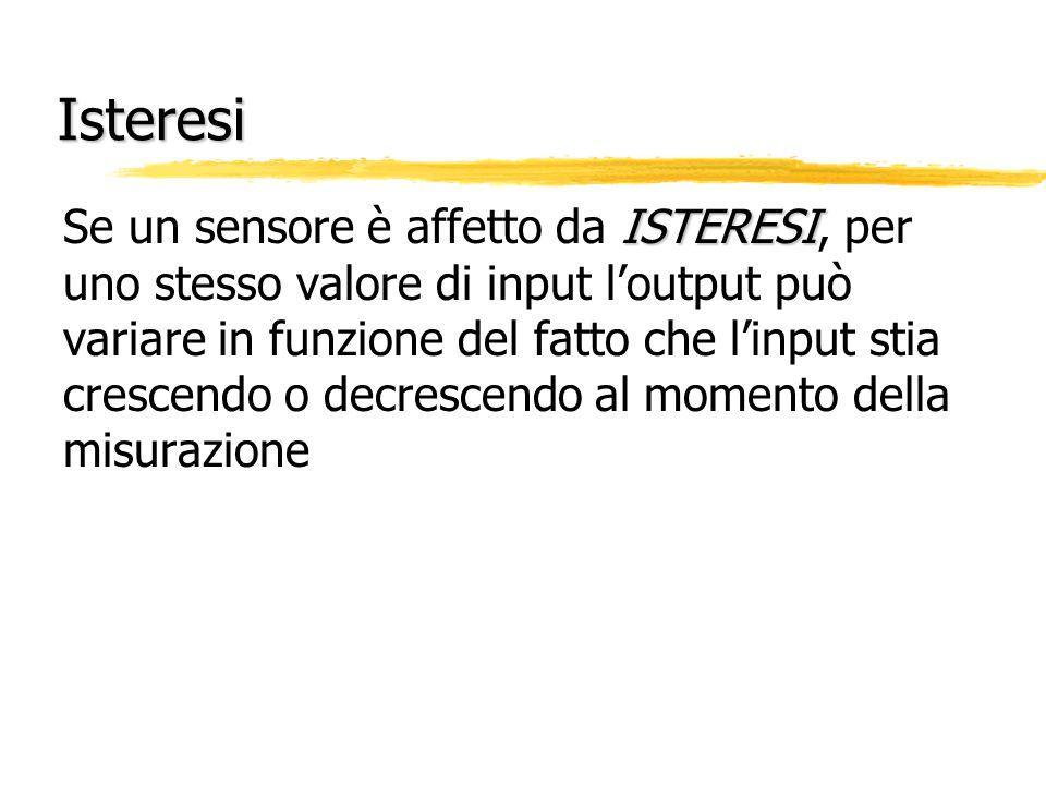 Ripetibilità RIPETIBILITÀ Quando uno stesso valore di input è applicato ad un sensore, la RIPETIBILITÀ è una misura della variabilità nell'output del sensore (detta anche PRECISIONE)