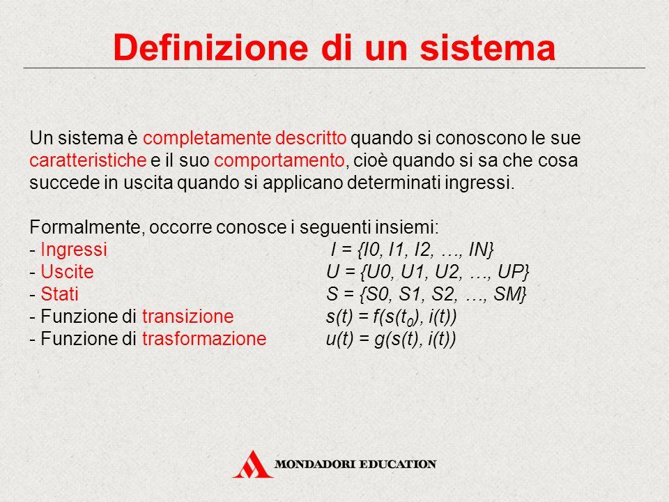 Definizione di un sistema Un sistema è completamente descritto quando si conoscono le sue caratteristiche e il suo comportamento, cioè quando si sa ch