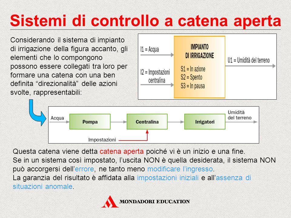 Sistemi di controllo a catena aperta Considerando il sistema di impianto di irrigazione della figura accanto, gli elementi che lo compongono possono e