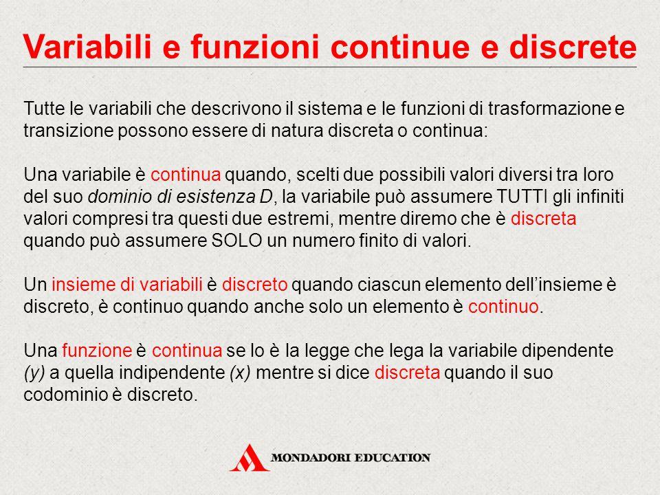 Variabili e funzioni continue e discrete Tutte le variabili che descrivono il sistema e le funzioni di trasformazione e transizione possono essere di