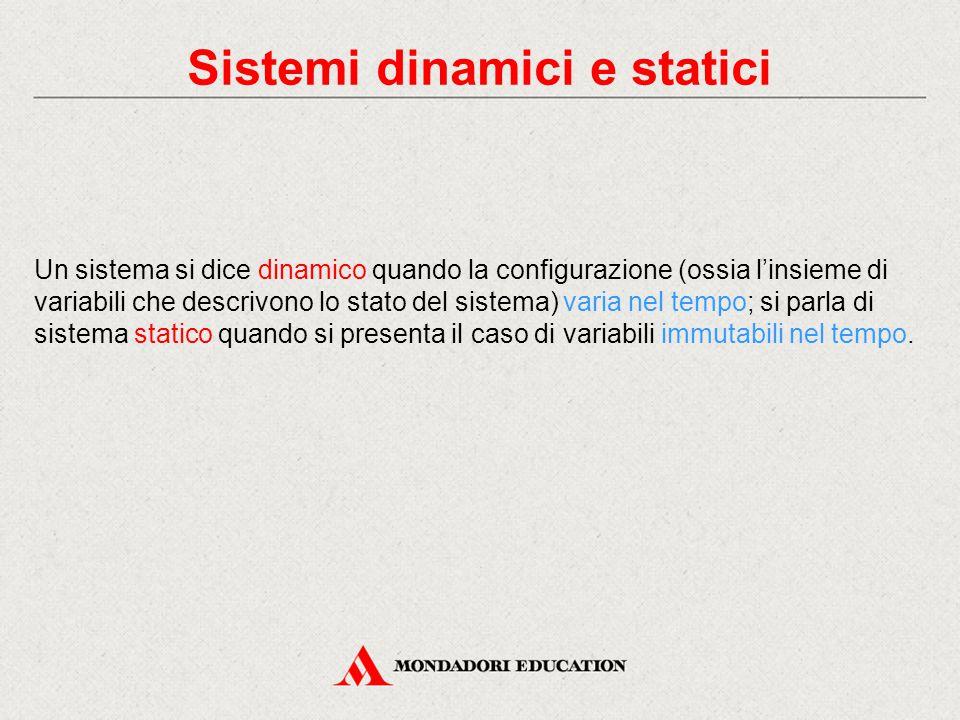 Sistemi dinamici e statici Un sistema si dice dinamico quando la configurazione (ossia l'insieme di variabili che descrivono lo stato del sistema) var