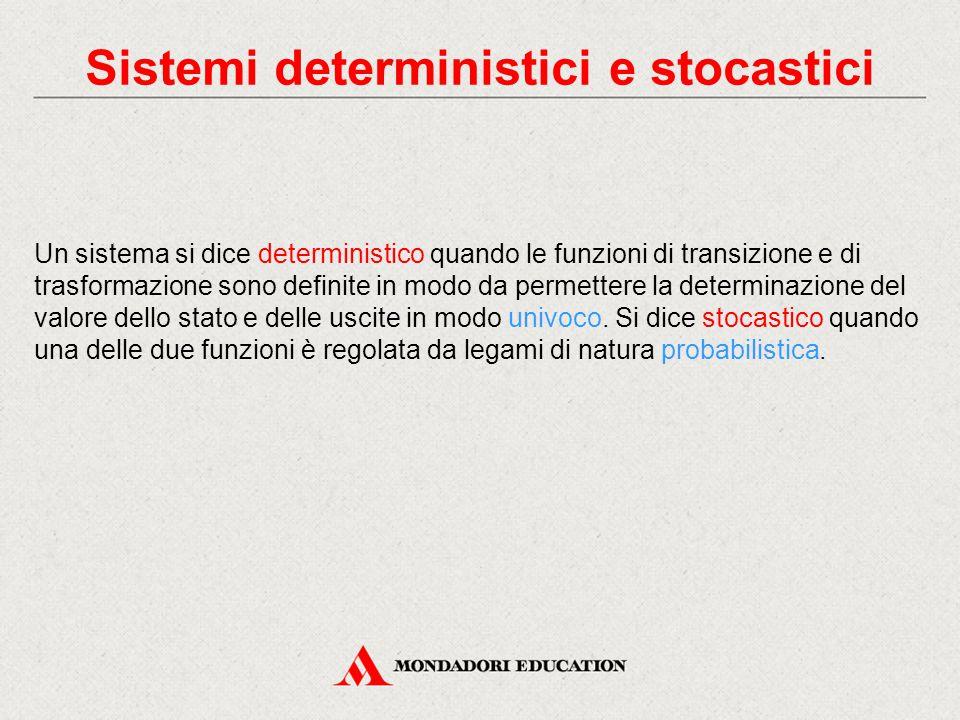 Sistemi deterministici e stocastici Un sistema si dice deterministico quando le funzioni di transizione e di trasformazione sono definite in modo da p