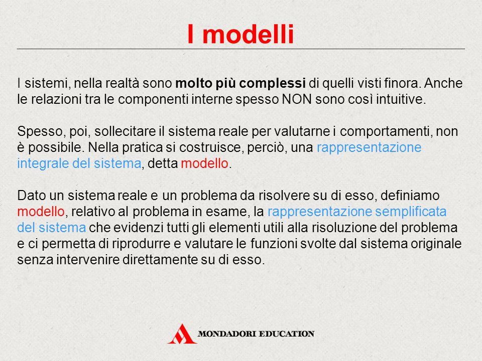 I modelli I sistemi, nella realtà sono molto più complessi di quelli visti finora. Anche le relazioni tra le componenti interne spesso NON sono così i