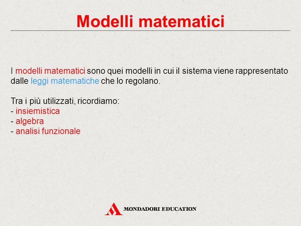 Modelli matematici I modelli matematici sono quei modelli in cui il sistema viene rappresentato dalle leggi matematiche che lo regolano. Tra i più uti