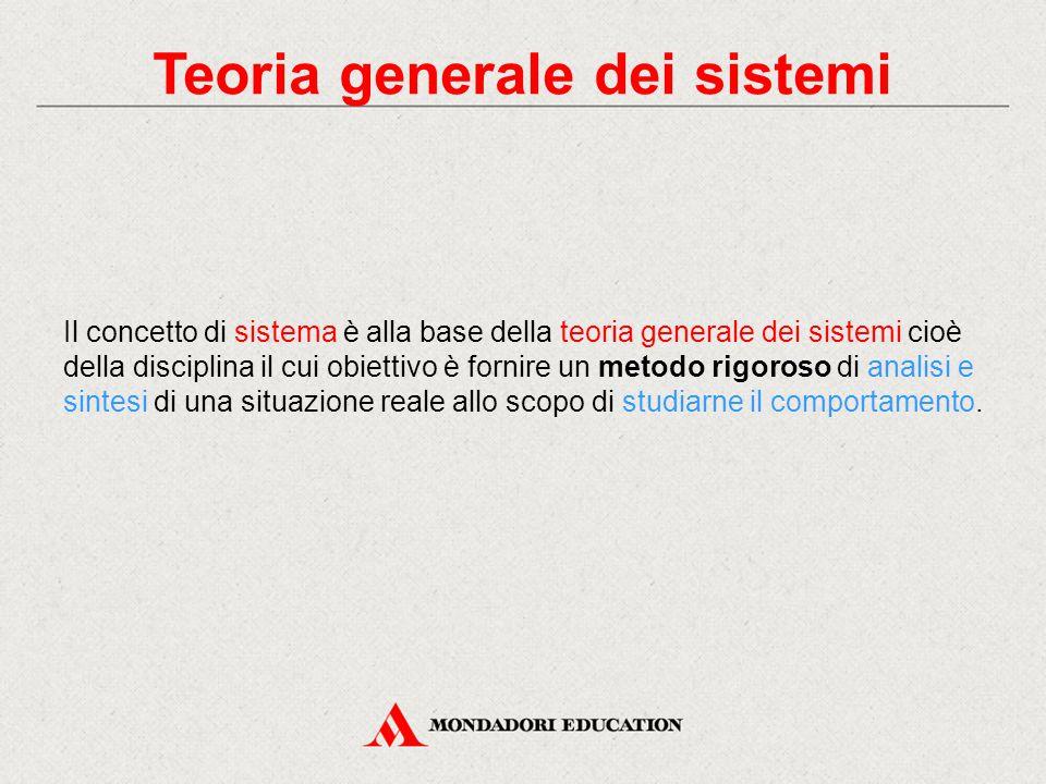 Teoria generale dei sistemi Il concetto di sistema è alla base della teoria generale dei sistemi cioè della disciplina il cui obiettivo è fornire un m