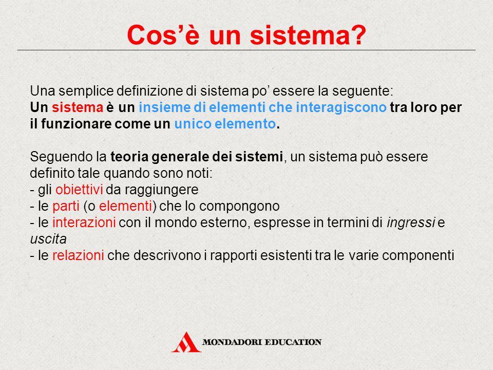 Cos'è un sistema? Una semplice definizione di sistema po' essere la seguente: Un sistema è un insieme di elementi che interagiscono tra loro per il fu