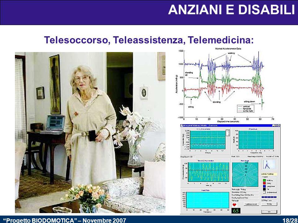 18/28 Progetto BIODOMOTICA – Novembre 2007 ANZIANI E DISABILI Telesoccorso, Teleassistenza, Telemedicina: