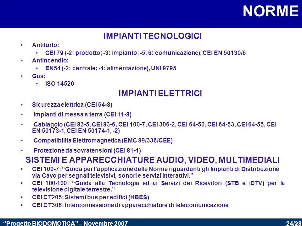 24/28 Progetto BIODOMOTICA – Novembre 2007 NORME IMPIANTI TECNOLOGICI Antifurto: CEI 79 (-2: prodotto; -3: impianto; -5, 6: comunicazione), CEI EN 50130/6 Antincendio: EN54 (-2: centrale; -4: alimentazione), UNI 9795 Gas: ISO 14520 IMPIANTI ELETTRICI Sicurezza elettrica (CEI 64-8) Impianti di messa a terra (CEI 11-8) Cablaggio (CEI 83-5, CEI 83-6, CEI 100-7, CEI 306-2, CEI 64-50, CEI 64-53, CEI 64-55, CEI EN 50173-1, CEI EN 50174-1, -2) Compatibilità Elettromagnetica (EMC 89/336/CEE) Protezione da sovratensioni (CEI 81-1) SISTEMI E APPARECCHIATURE AUDIO, VIDEO, MULTIMEDIALI CEI 100-7: Guida per l'applicazione delle Norme riguardanti gli Impianti di Distribuzione via Cavo per segnali televisivi, sonori e servizi interattivi. CEI 100-100: Guida alla Tecnologia ed ai Servizi dei Ricevitori (STB e iDTV) per la televisione digitale terrestre. CEI CT205: Sistemi bus per edifici (HBES) CEI CT306: Interconnessione di apparecchiature di telecomunicazione