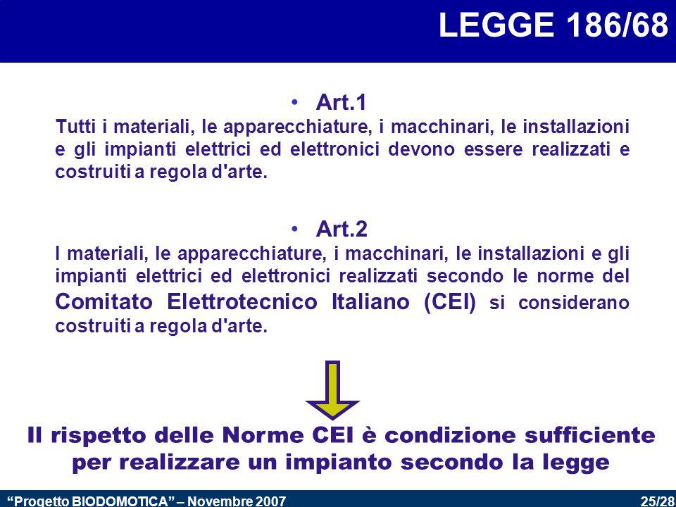 25/28 Progetto BIODOMOTICA – Novembre 2007 LEGGE 186/68 Art.1 Tutti i materiali, le apparecchiature, i macchinari, le installazioni e gli impianti elettrici ed elettronici devono essere realizzati e costruiti a regola d arte.