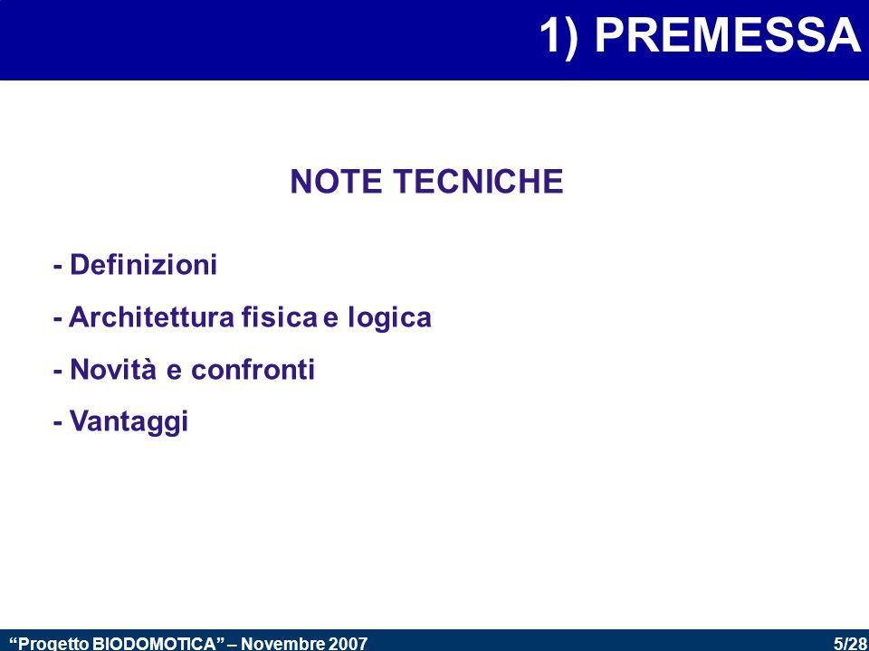 5/28 Progetto BIODOMOTICA – Novembre 2007 1) PREMESSA NOTE TECNICHE - Definizioni - Architettura fisica e logica - Novità e confronti - Vantaggi