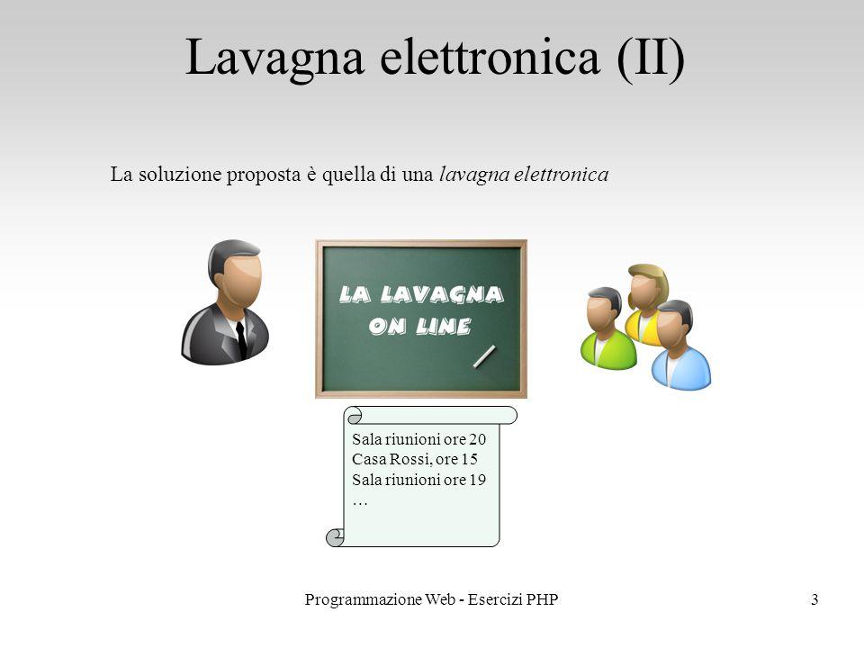 Lavagna elettronica (II) 3Programmazione Web - Esercizi PHP La soluzione proposta è quella di una lavagna elettronica Sala riunioni ore 20 Casa Rossi, ore 15 Sala riunioni ore 19 …