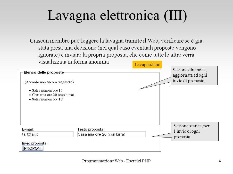 Lavagna elettronica (III) 4Programmazione Web - Esercizi PHP Ciascun membro può leggere la lavagna tramite il Web, verificare se è già stata presa una decisione (nel qual caso eventuali proposte vengono ignorate) e inviare la propria proposta, che come tutte le altre verrà visualizzata in forma anonima Sezione dinamica, aggiornata ad ogni invio di proposta Sezione statica, per l'invio di ogni proposta.