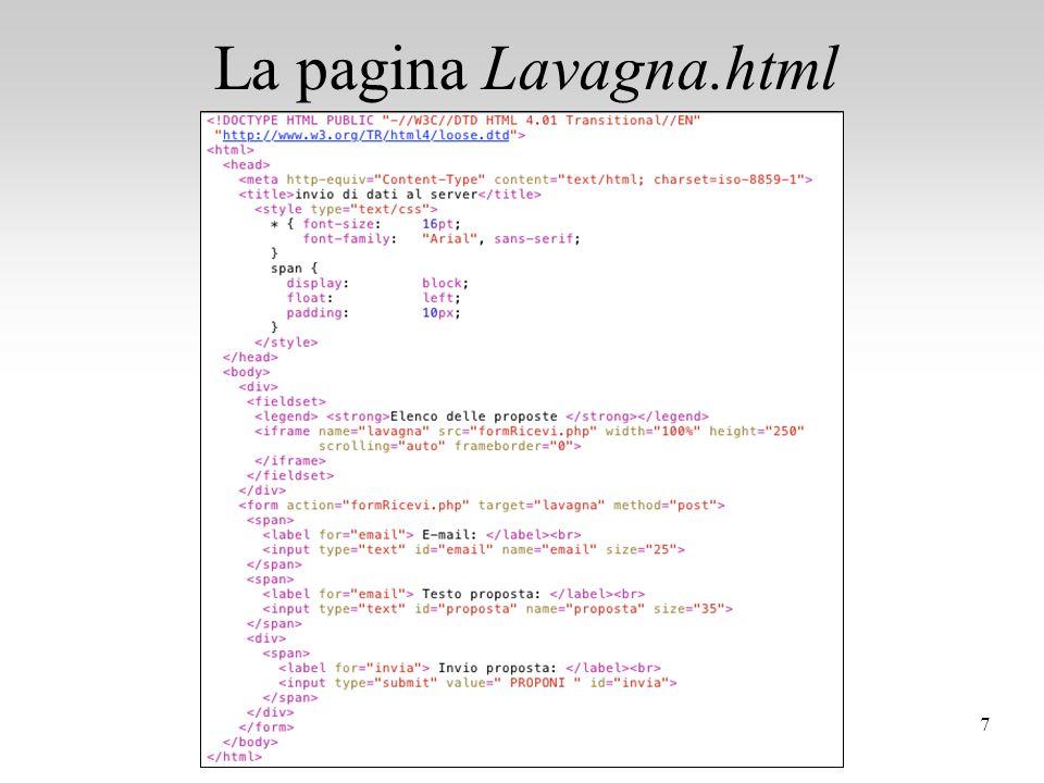 La pagina Lavagna.html 7Programmazione Web - Esercizi PHP