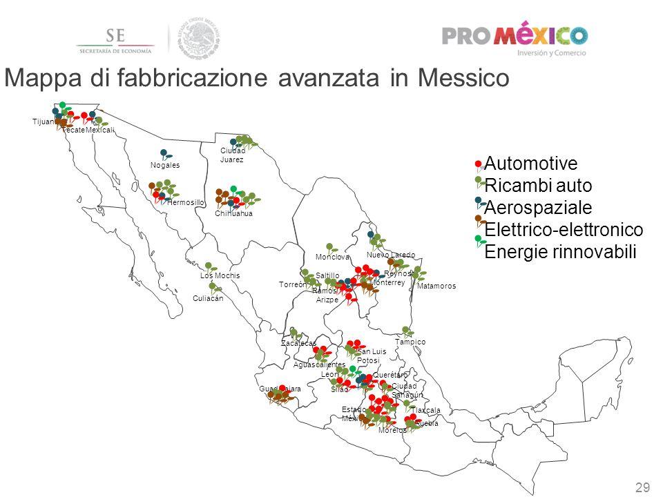29 Chihuahua Tijuana Mexicali Hermosillo Ciudad Juarez Los Mochis Culiacán Zacatecas Guadalajara Leon Torreón Tampico San Luis Potosi Matamoros Monter