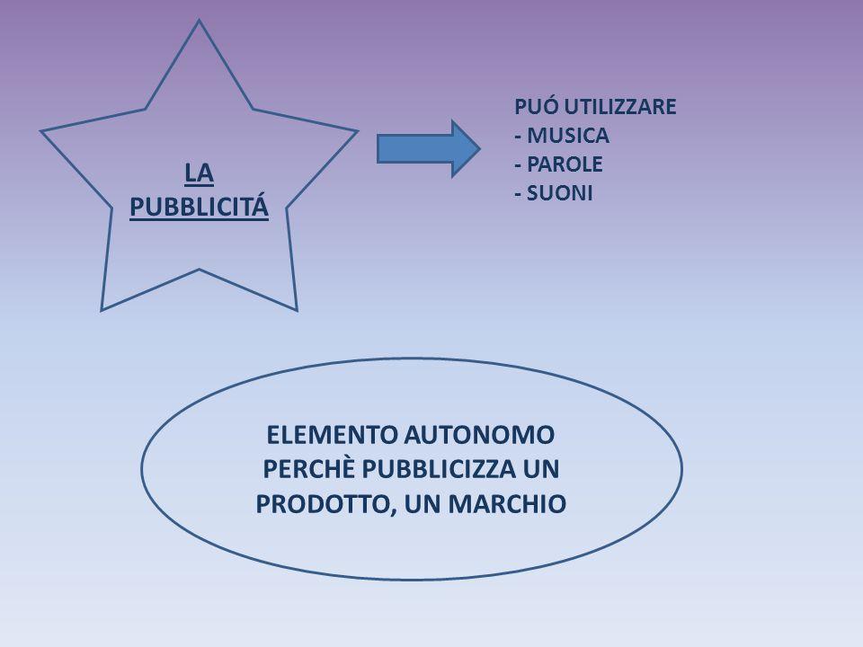 LA PUBBLICITÁ PUÓ UTILIZZARE - MUSICA - PAROLE - SUONI ELEMENTO AUTONOMO PERCHÈ PUBBLICIZZA UN PRODOTTO, UN MARCHIO