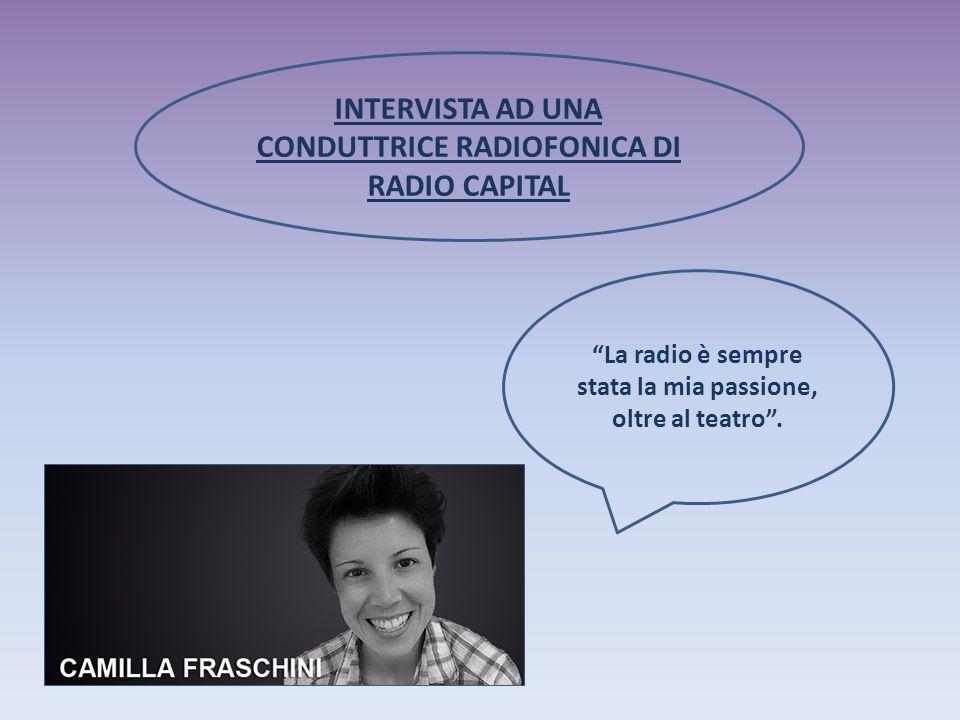 INTERVISTA AD UNA CONDUTTRICE RADIOFONICA DI RADIO CAPITAL La radio è sempre stata la mia passione, oltre al teatro .