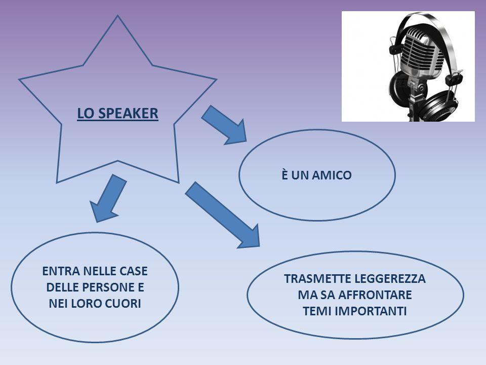 LO SPEAKER ENTRA NELLE CASE DELLE PERSONE E NEI LORO CUORI È UN AMICO TRASMETTE LEGGEREZZA MA SA AFFRONTARE TEMI IMPORTANTI