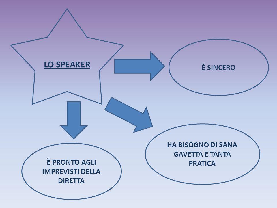 LO SPEAKER È PRONTO AGLI IMPREVISTI DELLA DIRETTA È SINCERO HA BISOGNO DI SANA GAVETTA E TANTA PRATICA