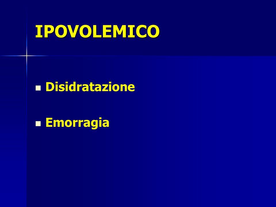 IPOVOLEMICO Disidratazione Emorragia
