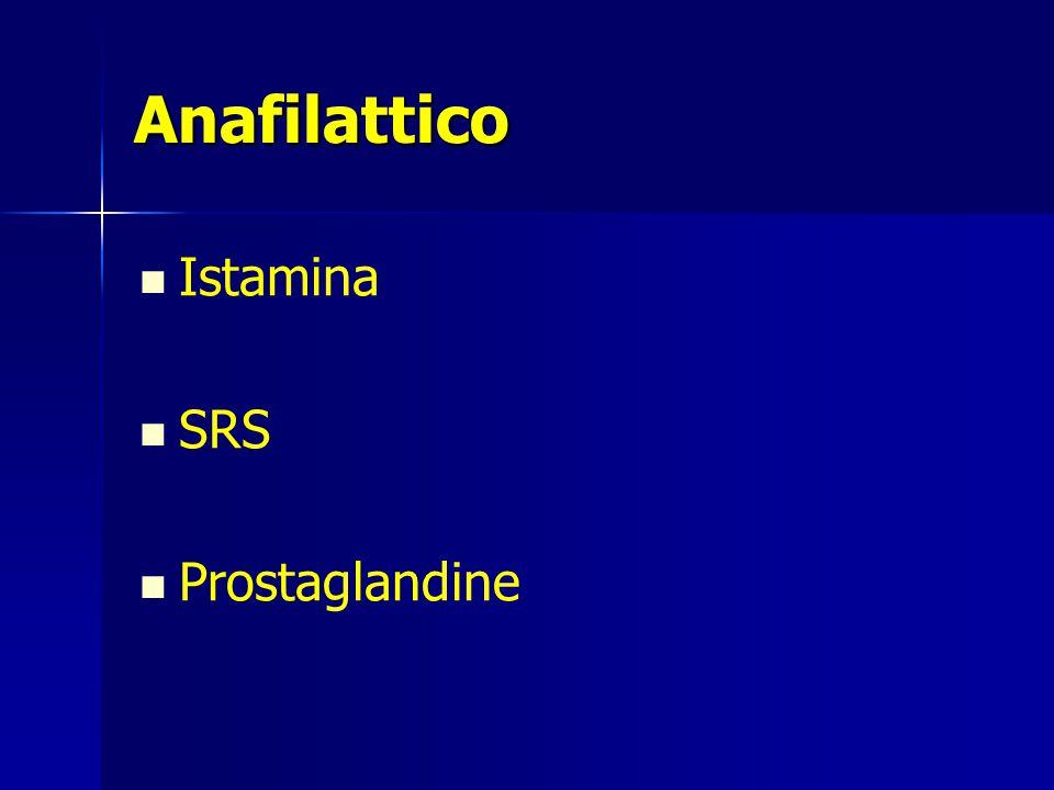 Anafilattico Istamina SRS Prostaglandine