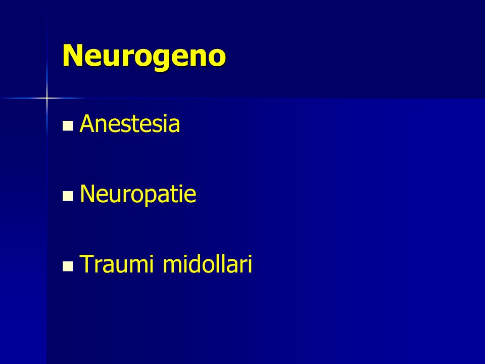 Neurogeno Anestesia Neuropatie Traumi midollari