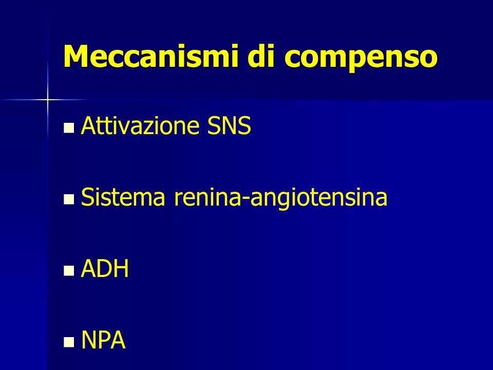 Meccanismi di compenso Attivazione SNS Sistema renina-angiotensina ADH NPA