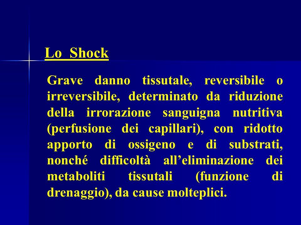 Lo Shock Grave danno tissutale, reversibile o irreversibile, determinato da riduzione della irrorazione sanguigna nutritiva (perfusione dei capillari), con ridotto apporto di ossigeno e di substrati, nonché difficoltà all'eliminazione dei metaboliti tissutali (funzione di drenaggio), da cause molteplici.