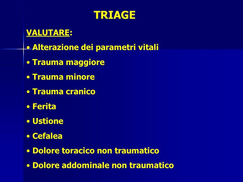 TRIAGE VALUTARE: Alterazione dei parametri vitali Trauma maggiore Trauma minore Trauma cranico Ferita Ustione Cefalea Dolore toracico non traumatico Dolore addominale non traumatico