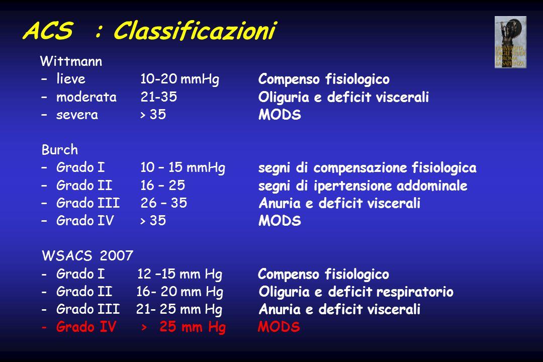 ACS : Classificazioni Wittmann –lieve 10-20 mmHg Compenso fisiologico –moderata 21-35 Oliguria e deficit viscerali –severa > 35 MODS Burch –Grado I10