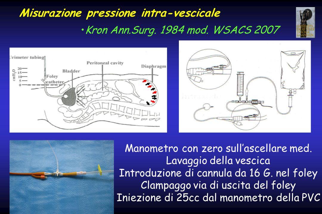 Misurazione pressione intra-vescicale Kron Ann.Surg. 1984 mod. WSACS 2007 Manometro con zero sull'ascellare med. Lavaggio della vescica Introduzione d
