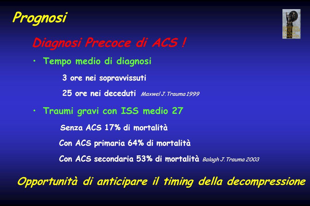 Prognosi Tempo medio di diagnosi 3 ore nei sopravvissuti 25 ore nei deceduti Maxwel J.Trauma 1999 Traumi gravi con ISS medio 27 Senza ACS 17% di morta